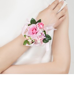 Cute Free-Form Satin/Cotton Wrist Corsage