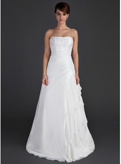 A-Line/Princess Strapless Floor-Length Taffeta Wedding Dress With Beading Cascading Ruffles
