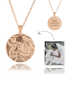 Custom 18k Rose Gold Plated Silver Engraving/Engraved Circle Tag Black And White Photo Engraved Engraved Necklace Circle Necklace Photo Necklace - Birthday Gifts