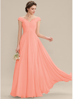Off-the-Shoulder Floor-Length Chiffon Bridesmaid Dress With Ruffle Lace