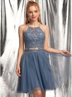 A-Line Scoop Neck Short/Mini Tulle Prom Dresses With Beading Sequins