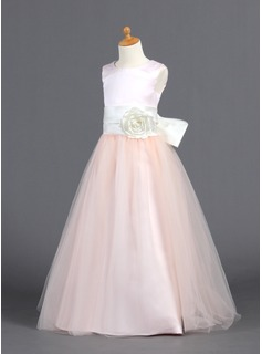 A-Line/Princess Floor-length Flower Girl Dress - Satin/Tulle Sleeveless Scoop Neck With Ruffles/Sash/Flower(s)/Bow(s)