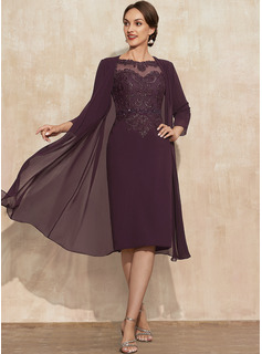 Sheath/Column Scoop Neck Knee-Length Lace Chiffon Mother of the Bride Dress With Beading