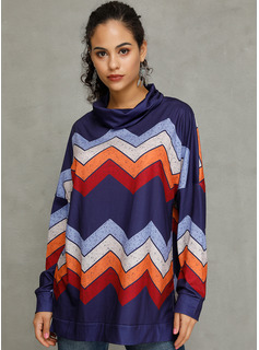 Long Sleeves Cotton Polyester High Neck Knit Blouses
