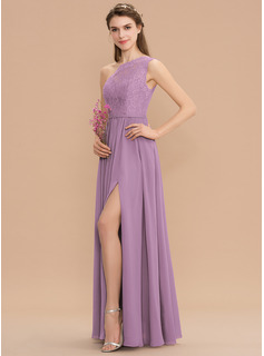 One-Shoulder Floor-Length Chiffon Lace Bridesmaid Dress With Split Front