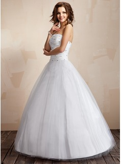 Ball-Gown Strapless Floor-Length Taffeta Tulle Wedding Dress With Ruffle Beading