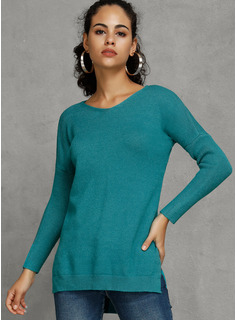 Solid Polyester V-neck Pullovers Sweater Dresses Sweaters