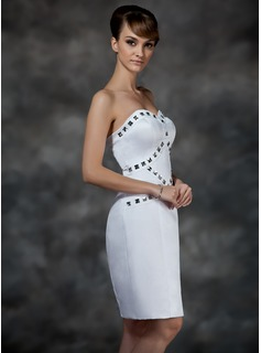 Sheath/Column Sweetheart Knee-Length Satin Cocktail Dress With Beading