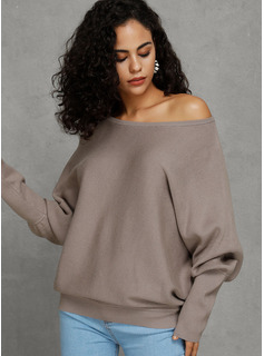 Solid Bomull Off the Shoulder Pull over Gensere