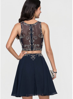 blue lace sleeve prom dress