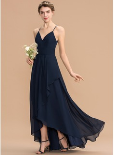 A-Line V-neck Asymmetrical Chiffon Lace Bridesmaid Dress