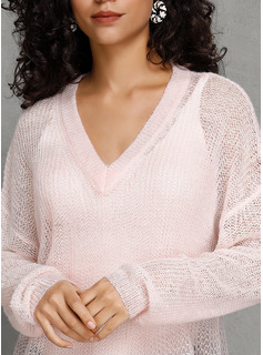 Solid V-neck Pullovers Sweaters