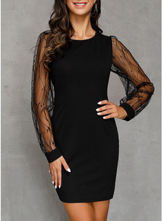 Polyester With Lace/Solid Above Knee Dress