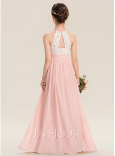 A-Line Floor-length Flower Girl Dress - Chiffon Sleeveless With Back Hole