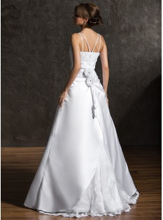A-Line/Princess Square Neckline Floor-Length Satin Organza Wedding Dress With Beading Appliques Lace Flower(s)
