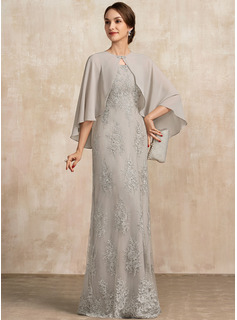 A-Line Square Neckline Floor-Length Lace Mother of the Bride Dress
