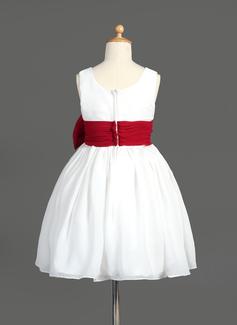 Forme Princesse Longueur genou Robes à Fleurs pour Filles - Mousseline Sans manches Col V avec Ceintures/À ruban(s)