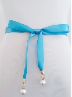 Elegant Satin Sash With Imitation Pearls