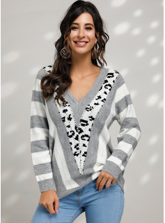 Print Color Block Cable-knit Polyester V-neck Pullovers Sweaters