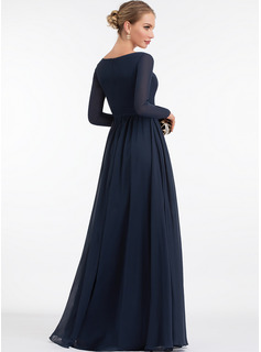 V-neck Floor-Length Chiffon Prom Dresses With Split Front