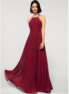 A-Line Scoop Neck Square Neckline Floor-Length Chiffon Prom Dresses