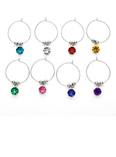 Lovely Round Stainless Steel Wine Glass Charm Rings (Set of 8)