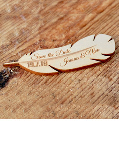 Personalized Feather Wooden Save-the-date Magnets (Set of 10)