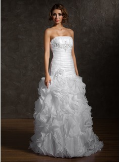 Trumpet/Mermaid Strapless Court Train Satin Organza Wedding Dress With Beading Flower(s) Cascading Ruffles