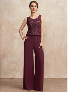 Jumpsuit/Pantsuit Scoop Neck Floor-Length Chiffon Lace Mother of the Bride Dress With Sequins