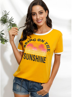 Manches courtes Polyester Col rond T-shirt Blouses