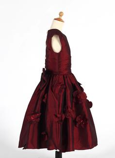 Forme Princesse Longueur mollet Robes à Fleurs pour Filles - Taffeta Sans manches Col rond avec Plissé/Fleur(s)/Paillettes/À ruban(s)