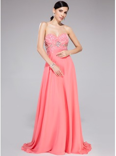 A-Line/Princess Sweetheart Sweep Train Chiffon Prom Dresses With Beading Sequins