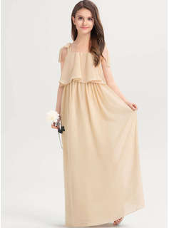 A-Line Square Neckline Floor-Length Chiffon Junior Bridesmaid Dress With Bow(s) Cascading Ruffles