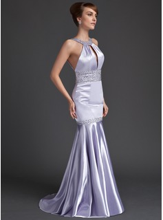 Trumpet/Mermaid Scoop Neck Sweep Train Charmeuse Evening Dress With Ruffle Beading Sequins
