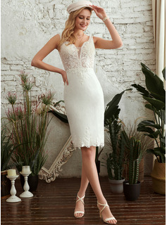Sheath/Column V-neck Knee-Length Wedding Dress