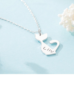 Custom Silver Cat Engraved Necklace - Birthday Gifts Mother's Day Gifts