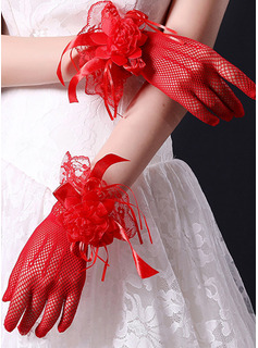Lace Wrist Length Bridal Gloves With Lace Flower