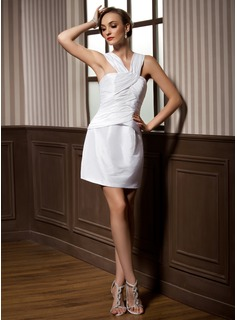 Sheath/Column V-neck Short/Mini Taffeta Cocktail Dress With Ruffle
