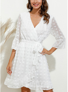 white cocktail dresses long sleeves