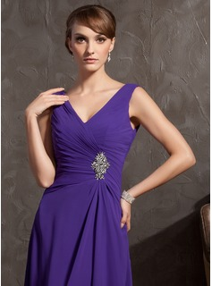 A-Line V-neck Floor-Length Chiffon Mother of the Bride Dress With Beading Cascading Ruffles