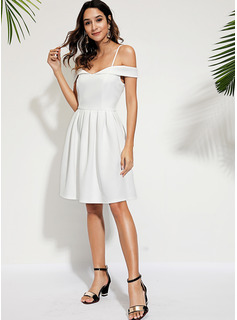 Polyester With Crumple Knee Length Dress