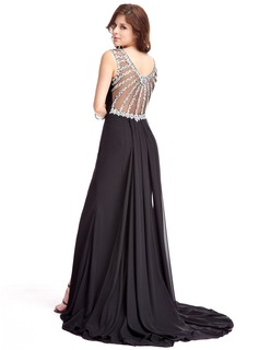 Trumpet/Mermaid Scoop Neck Watteau Train Chiffon Evening Dress With Beading Split Front