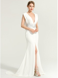 Trumpet/Mermaid V-neck Sweep Train Stretch Crepe Wedding Dress With Beading Split Front