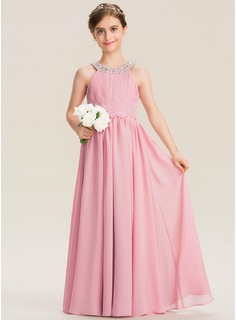 Scoop Neck Floor-Length Chiffon Lace Junior Bridesmaid Dress With Ruffle Beading Sequins
