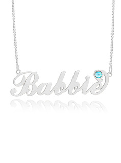 Custom Sterling Silver 'Carrie' Style Script Name Necklace Birthstone Necklace - Birthday Gifts Mother's Day Gifts