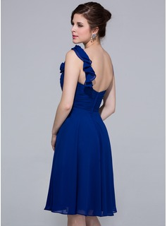 Empire Knee-Length Chiffon Bridesmaid Dress With Ruffle Flower(s)