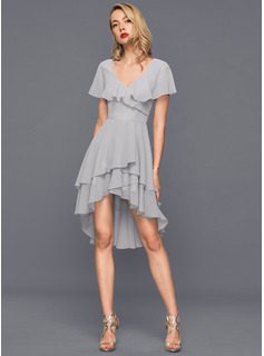 V-neck Asymmetrical Chiffon Cocktail Dress