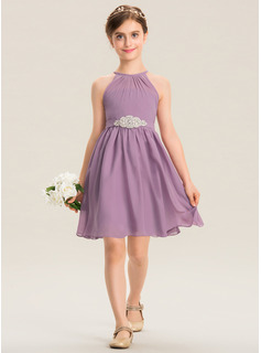 A-Line Scoop Neck Knee-Length Chiffon Junior Bridesmaid Dress With Ruffle Beading