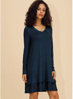 Cotton Blends With Lace/Solid Knee Length Dress