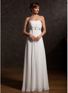 Empire Sweetheart Floor-Length Chiffon Mother of the Bride Dress With Ruffle Beading